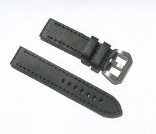 22mm Extra Thick Heavy Duty Black Leather Watch Band with 2 Spring Bars