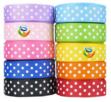Wholesale 100Yards/roll Grosgrain Ribbon Printed Swiss Dots Crafts Bows DIY 16mm