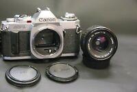 Canon AV1 35mm film SLR camera body with FD 50mm f1.8 prime lens SERVICED