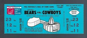 VINTAGE 1968 NFL CHICAGO BEARS vs DALLAS COWBOYS  FULL FOOTBALL TICKET - HOF