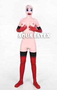 Living Doll Rubber Latex Catsuit Full Body Suit Sexy Inflatable Breast Costume
