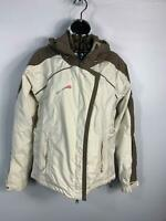 WOMENS HELLY HANSEN CREAM&BROWN WINTER PADDED SKI SNOW HOOD COAT JACKET SIZE S