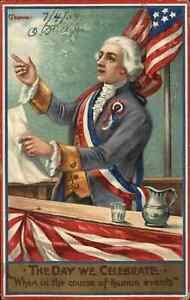 Chapman Patriotic American Flag Jefferson? 4th Fourth of July Postcard