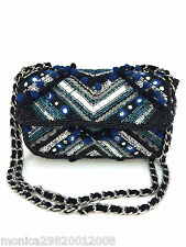 ZARA EMBROIDERED POM POM DETAIL CROSSBODY MESSENGER BAG WITH CHAIN 8514/104