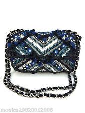 Zara Ricamato Pom Pom Dettagli CrossBody Messenger Bag Con Catena 8514/104