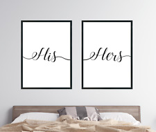 A3 His and Hers Print Set of 2 Bedroom Decor Above Bed Wall Art Love Couple