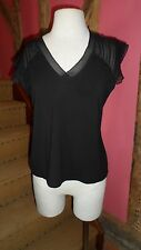 UK 14/16 Cap Sleeve V Neck Top in a Black Viscose Blend by Gerard Darel BNWT