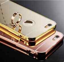 Funda para Iphone 5-5s 6-6s 6splus marco aluminio-tapa espejo + cristal opcional