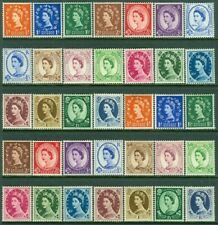 EDW1949SELL : GREAT BRITAIN 1952-57 Sc #292-306, 317-33 Both Cplt sets. Cat $288