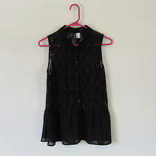 Divided H&M Women's Button Down Collared Peplum Lace Top Size 12 US - Black