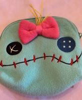 LILO & Stitch Scrump Fuzzy Face Cosmetic Makeup Bag Mint Green Disney Loungefly