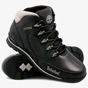 Timberland Euro Rock Mid Hiker Black Leather Men's Boots Shoes UK 11 EU 45.5