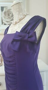Joseph Ribkoff Purple Sleeveless Stretchy Dress Size 10 Bow Ruched front