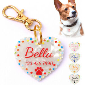 Dog Name Tags Personalized Engraved Waterproof Heart Shape PVC Light Weight Cute