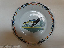 French Nevers Delftware bird plate 18th century