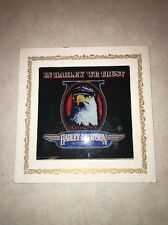 "VINTAGE HARLEY DAVIDSON ""IN HARLEYS WE TRUST"" REVERSE PAINTED GLASS Picture"