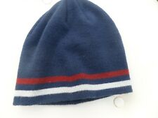 Beanie style hat in dark blue with red and white stripe by Peter Storm