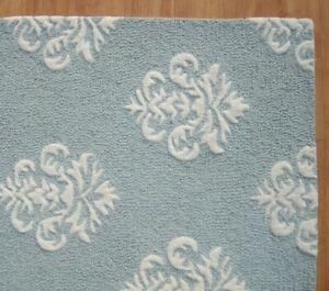 Damask Blue White Modern Loop Handmade Hand-Tufted 100% Wool Area Rug Carpet.