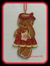 HP Hand painted gingerbread girl and sugar cookie Wooden christmas ornament, red
