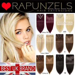 """Clip In Full Head human remy hair extensions RAPUNZELS UK 20"""" LONG"""