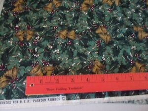 "THIMBLEBERRIES GRN MISTLETOE MTN XMAS Cotton/Quilt/Sew/Craft Fabric 18x22"" FQ"