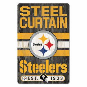 "PITTSBURGH STEELERS HARDBOARD WOOD SIGN 11""X17"" NFL LICENSED USA SELLER"
