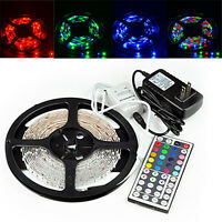 5M 16.4FT SMD RGB 3528 LED Strip light 300 44 Key IR Remote 12V Supply Power US