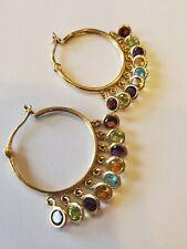 14K Yellow Gold Multi Color Gem Multi Hoop Earrings