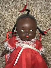 13� Vtg Black Americana Baby Doll Composition Jointed Arms & Legs Unbranded