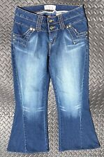 Baby Phat Womens 11 Authentic Golden Cat Embroidered Wide Flare Boot cut Jeans