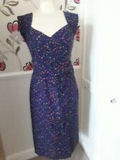 LAURA ASHLEY LINEN&COTTON BLUE FLORAL CALF LENGTH SHIFT DRESS SIZE 10