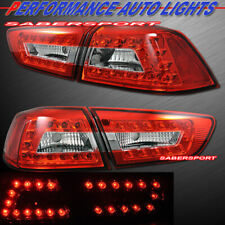 Set of 4pcs Red Clear LED Taillights for 2008-2017 Mitsubishi Lancer 4dr Sedan