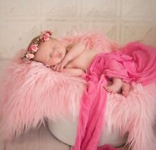 "Baby Pink, Faux Fur, Mongolian, Newborn Photography's props 18""x 20"" Inches"