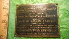 AK31 Preston Woodworking Machinery Co Lubrication Tag KEYSTONE LUBRICATING CO