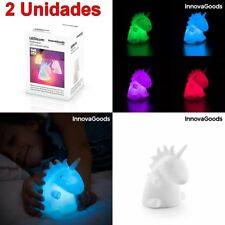 2 x Lampara infantil niños Unicornio con Luz Led multicolor 9x11x10,quitamiedos