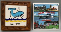 Vintage San Diego California Whale and Tourist Attractions Tile Trivets