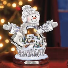 Winter Wonderland  Crystal Snowman / Snowgirl Thomas Kinkade Bradford Exchange