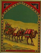 ORIGINAL VINTAGE  FABRIC BALE LABEL - CAMEL TRAIN