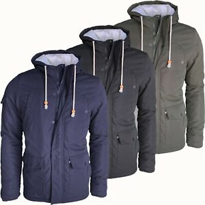 Mens Parka Jacket Fishtail Hooded Winter Warm Quilted Padded Outerwear Coat New