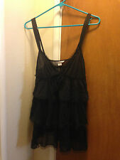 VICTORIAS SECRET BLACK SHEER / Sparkles CHEMISE SIZE Large