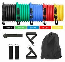 11 PCS Resistance Band Set Yoga Pilates Abs Exercise Workout Bands Fitness Tube