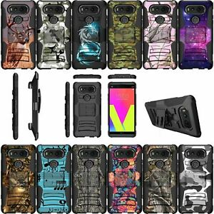 For LG V20   V20 Dual Layer Bumper Kickstand And Holster Combo Case - Camo