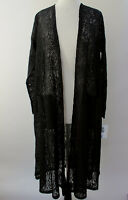 L - Large LuLaRoe Sarah Duster Cardigan Beautiful Solid Black Floral Lace NWT 45