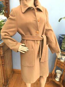 Vintage House of Fraser Mid Length Camel Wool Cashmere Blend Coat Size 10