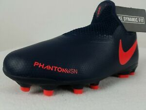Nike Phantom Vision Soccer Cleats FG Size 1-5.5 Youth Navy Blue Red AO3287-440