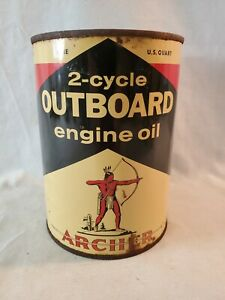 One Quart Lithographed Tin Archer 2-Cycle Outboard Motor Oil Can NO Res