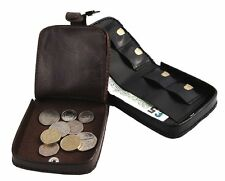 Mens Gents Quality Deluxe Leather Tray Purse For Coins And Notes Xmas Gifts