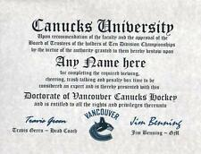 Vancover Canucks Hockey Fan Certificate Diploma Gift Man Cave Hockey