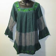 Top Fits XL 1X 2X Plus Tunic Green Gray Sequins Square Neckline Tunic NWT 5140