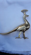 SOLID ART BRASS ORNAMENT. PEACOCK 15cm TALL 16cm LONG. FINE BIRD